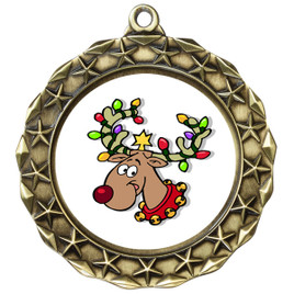Reindeer  theme medal..  Includes free engraving and neck ribbon.   reindeer md40g