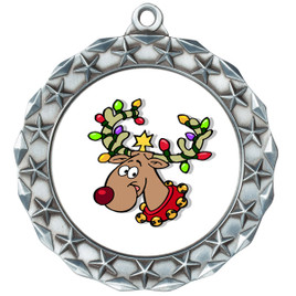 Reindeer  theme medal..  Includes free engraving and neck ribbon.   reindeer md40s