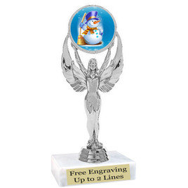 "Snowman theme  trophy with choice of base.  6"" tall  (6010s"