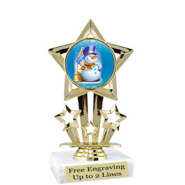 "Snowman theme  trophy with choice of base.  6"" tall  -  f767"