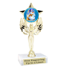 "Snowman theme  trophy with choice of base.  6"" tall  -  mf1080"