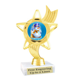 """Snowman theme  trophy with choice of base.  6"""" tall  -  ph27"""