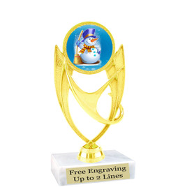 "Snowman theme  trophy with choice of base.  6"" tall  -  ph28"