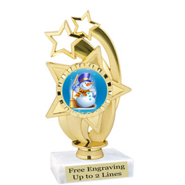"""Snowman theme  trophy with choice of base.  6"""" tall  -  ph55"""