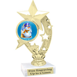 "Snowman theme  trophy with choice of base.  6"" tall  -  ph208"