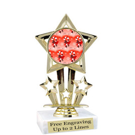 "Candy Cane theme  trophy with choice of base.  6"" tall  -  f767"
