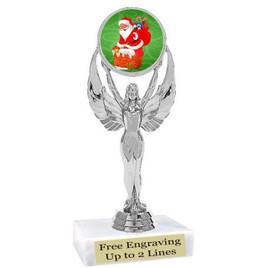 "Santa theme  trophy with choice of base.  6"" tall  - 6010s"