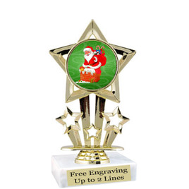 "Santa theme  trophy with choice of base.  6"" tall  - f767"