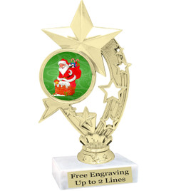 "Santa theme  trophy with choice of base.  6"" tall  - h208"