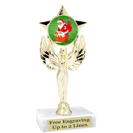 "Santa theme  trophy with choice of base.  6"" tall  - mf1080"