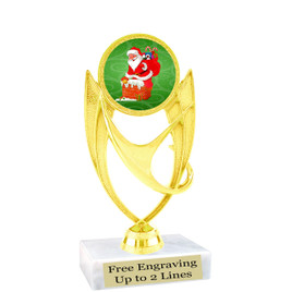 "Santa theme  trophy with choice of base.  6"" tall  - ph28"