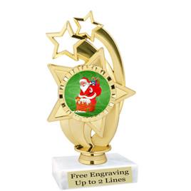 "Santa theme  trophy with choice of base.  6"" tall  - ph55"
