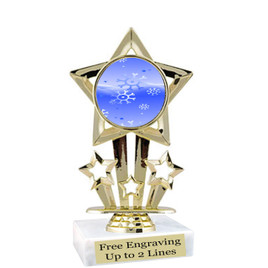 "Snowflake theme  trophy with choice of base.  6"" tall  - f767"
