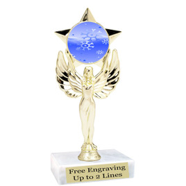 "Snowflake theme  trophy with choice of base.  6"" tall  - mf1080"