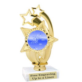 "Snowflake theme  trophy with choice of base.  6"" tall  - ph55"