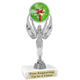 "Holiday theme  trophy with choice of base.  6"" tall  - 6010s"