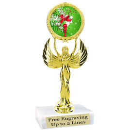 "Holiday theme  trophy with choice of base.  6"" tall  - 80087"