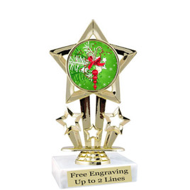 "Holiday theme  trophy with choice of base.  6"" tall  - f767"