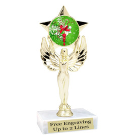 "Holiday theme  trophy with choice of base.  6"" tall  - mf1080"