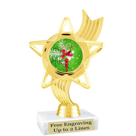 "Holiday theme  trophy with choice of base.  6"" tall  - ph27"