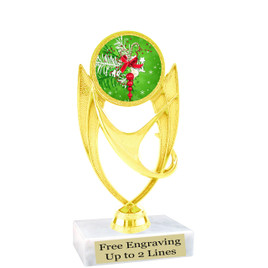 "Holiday theme  trophy with choice of base.  6"" tall  - ph28"