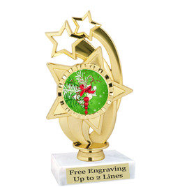 "Holiday theme  trophy with choice of base.  6"" tall  - ph55"