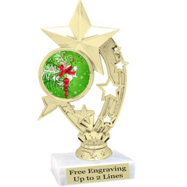 "Holiday theme  trophy with choice of base.  6"" tall  - ph208"