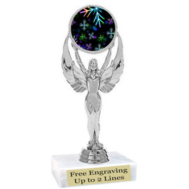 "Snowflake theme  trophy with choice of base.  6"" tall  - BK-6010s"