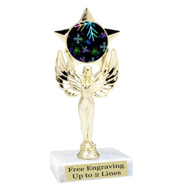 "Snowflake theme  trophy with choice of base.  6"" tall  - BK-mf1080"