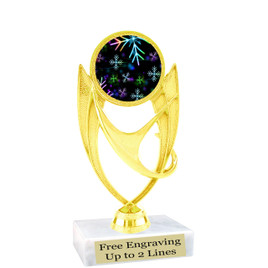 "Snowflake theme  trophy with choice of base.  6"" tall  - BK-ph28"