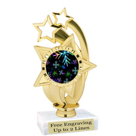 "Snowflake theme  trophy with choice of base.  6"" tall  - BK-ph55"