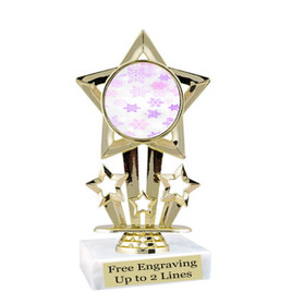 "Snowflake theme  trophy with choice of base.  6"" tall  - pink-f767"