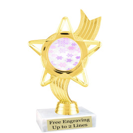 "Snowflake theme  trophy with choice of base.  6"" tall  - pink-ph27"