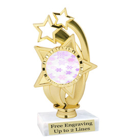"Snowflake theme  trophy with choice of base.  6"" tall  - pink-ph55"