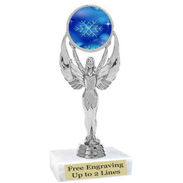 "Snowflake theme  trophy with choice of base.  6"" tall  - blueph6010s"