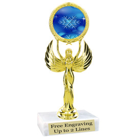 """Snowflake theme  trophy with choice of base.  6"""" tall  - blueph-80087"""
