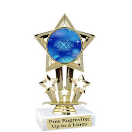 """Snowflake theme  trophy with choice of base.  6"""" tall  - blueph-f767"""