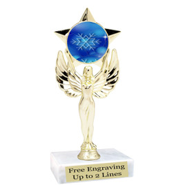 "Snowflake theme  trophy with choice of base.  6"" tall  - blueph-mf1080"