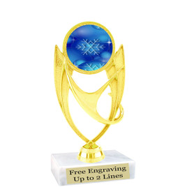 "Snowflake theme  trophy with choice of base.  6"" tall  - blueph-ph28"