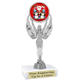 "Santa and Penguins theme  trophy with choice of base.  6"" tall  - 6010a"