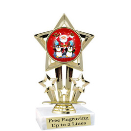 "Santa and Penguins theme  trophy with choice of base.  6"" tall  - f767"