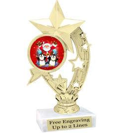 "Santa and Penguins theme  trophy with choice of base.  6"" tall  - h208"