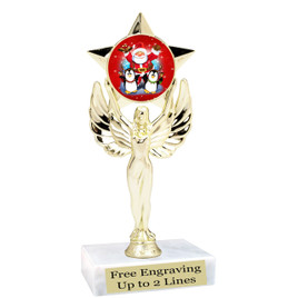 "Santa and Penguins theme  trophy with choice of base.  6"" tall  - mf1080"