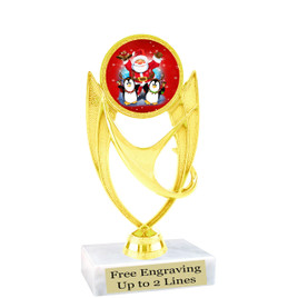 """Santa and Penguins theme  trophy with choice of base.  6"""" tall  - ph28"""