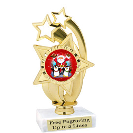 """Santa and Penguins theme  trophy with choice of base.  6"""" tall  - ph55"""