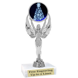"Snowflake Tree theme  trophy with choice of base.  6"" tall  - 6010s"