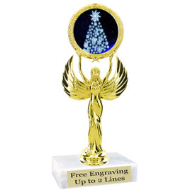 "Snowflake Tree theme  trophy with choice of base.  6"" tall  - 80087"