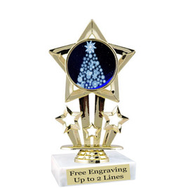 "Snowflake Tree theme  trophy with choice of base.  6"" tall  - f767"