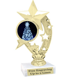 "Snowflake Tree theme  trophy with choice of base.  6"" tall  - h208"