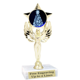 "Snowflake Tree theme  trophy with choice of base.  6"" tall  -mf1080"